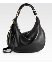 Michael Kors Tonne Pythontrimmed Leather Hobo - Lyst