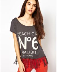 Echo Only Beach Girl Fringed Top - Gray