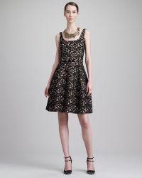 Oscar de la Renta Scoopneck Belted Lace Dress - Lyst