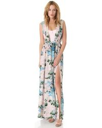 Peter Som - Floral Gown with Exposed Bodice - Lyst