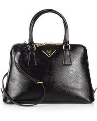 Prada Saffiano Vernice Small Promenade Bag black - Lyst