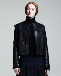 Proenza Schouler Collarless Leather Jacket - Black