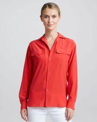 Ralph Lauren Black Label Longsleeve Silk Pocket Blouse - Lyst