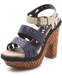 Rochas Strapped Platform Sandals - Blue