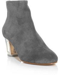 Rupert Sanderson Honeycup Perspex Heel Suede Boots - Gray