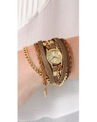 Sara Designs - Leather Suede Texture Wrap Watch - Lyst