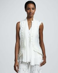 Vera Wang - Womens Sleeveless Cutaway Jacket White - Lyst