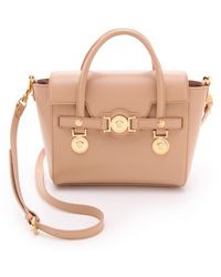 Versace Fold Over Tote with Medusa beige - Lyst