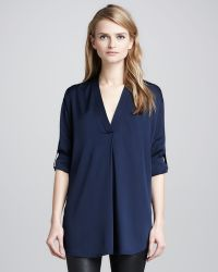 Vince Loose Stretch-Silk Blouse - Lyst