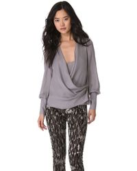 Wes Gordon - Draped Wrap Blouse - Lyst