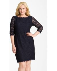 Adrianna Papell Lace Overlay Sheath Dress - Lyst