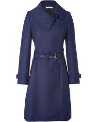 Bouchra Jarrar | Wool Gabardine Anglaise Coat in Navy | Lyst