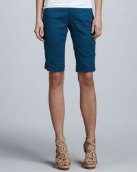 Christopher Blue Monaco Linen Liberty Bermuda Shorts - Blue