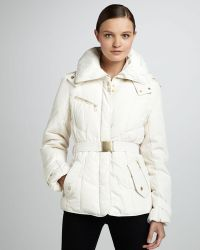 Cole Haan Short Belted Puffer Coat - Lyst