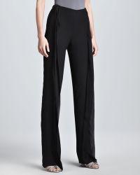 Donna Karan New York Doublelayer Wide-leg Evening Pants Black - Lyst