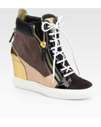 Giuseppe Zanotti Patchwork Suede Wedge Sneakers - Lyst