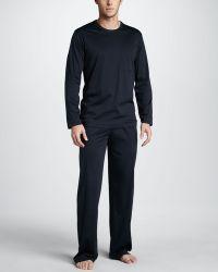 Hanro - City Blue Longsleeve Pajamas - Lyst