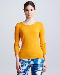 Lela Rose Longsleeve Silk Crewneck Sweater Tangerine - Lyst