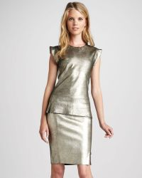 Skaist Taylor Metallic Leather Pencil Skirt - Lyst