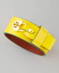 Tory Burch - Alden Leather Heartlock Cuff Bracelet - Lyst