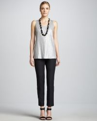 Eileen Fisher Slim Crepe Ankle Pants - Lyst