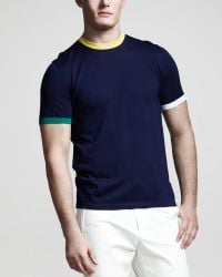 Jil Sander Tipped Shortsleeve Sweater - Lyst
