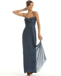 Amsale - Long Ruffle Front Silk Dress - Lyst