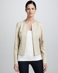 Grayse - Studded Perforated Leather Jacket - Lyst