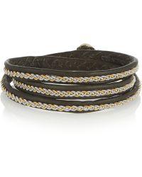 Maria Rudman - Embroidered Leather Wrap Bracelet - Lyst