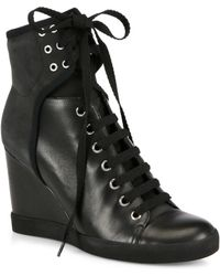 See By Chloé Leather Laceup Wedge Sneakers - Lyst