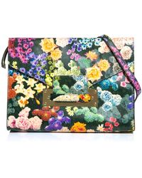 Sophie Hulme Floral Envelope Clutch - Green