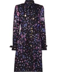 Versace Belted Floral Trench - Lyst