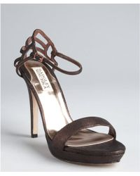 Badgley Mischka Bronze Metallic Leather Viveka Ankle Strap Sandals - Lyst
