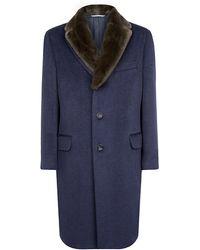 Canali Fur Collar Coat - Lyst