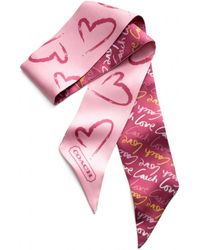 COACH Love Watercolor Heart Ponytail Scarf - Pink