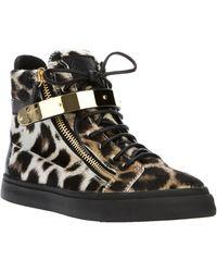 Giuseppe Zanotti Leopard Print Hi-Top Sneakers - Lyst