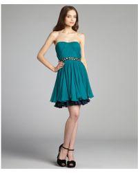 Vera Wang Lavender Turquoise Crinkle Silk Chiffon Strapless Dress blue - Lyst