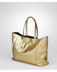 Bottega Veneta Gold Intrecciomirage Tote - Lyst