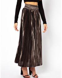 Glamorous Pleated Metallic Maxi Skirt