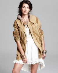 Free People Parka Tapestry Pieced Stretch Herringbone - Natural