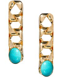 Ganni Gogo Philip Chain and Stone Drop Earrings - Metallic