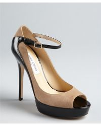 Jimmy Choo Nude Suede and Black Patent Leather Peep Toe Tami Pumps - Lyst