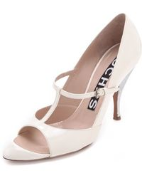 Rochas T Strap Patent Heels - Natural