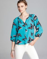 Tucker Quotation Blouse Classic Butterfly Print Silk - Grey