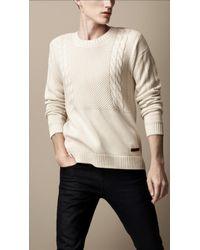 Burberry Aran Knit Sweater - Lyst