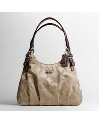 3ee4afdc34be ... where to buy hot coach madison op art sateen maggie shoulder bag lyst  7d64e 2bc80