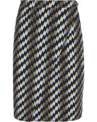 Kenzo Lightning Boltprint Stretchcotton Drill Pencil Skirt - Lyst
