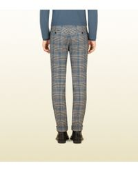 Gucci Wool Check Prince Of Whales Skinny Pant - Blue