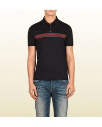 Gucci Black Cotton Jersey Polo With Web Print - Lyst