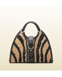 Gucci Stirrup Zebra Print Calf Hair Top Handle Bag - Lyst
